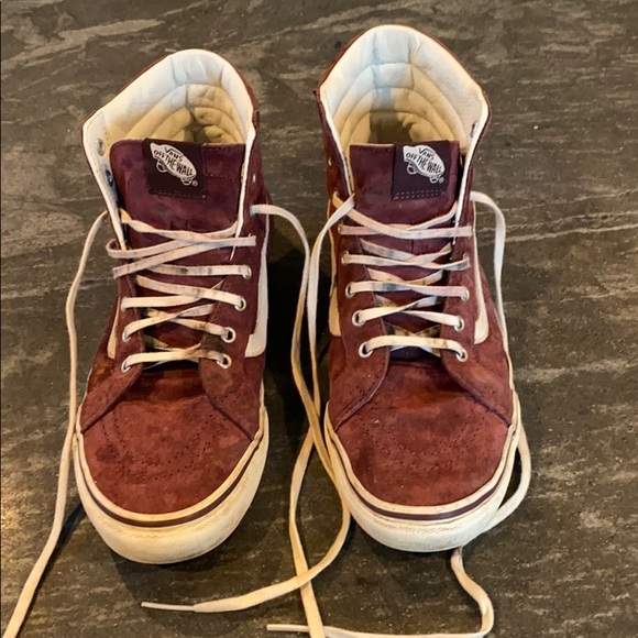 Vans Burgundy Suede High Top Sneakers